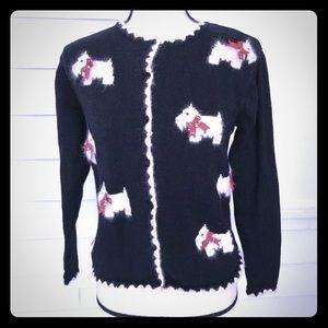 Talbots Scottie or Westie dog cardigan sweater PS